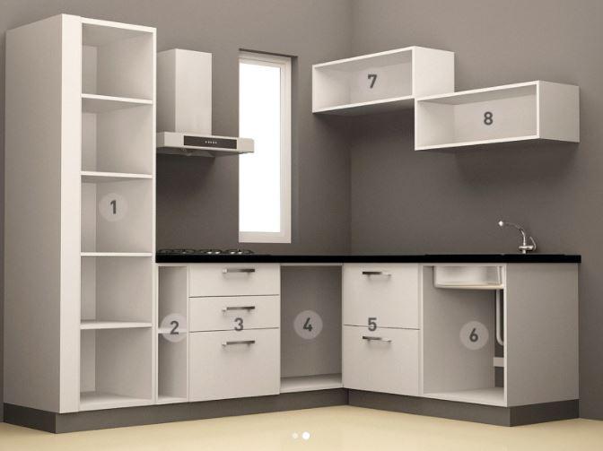 Bản vẽ Thiết kế mẫu tủ bếp chữ L cho nhà nhỏ