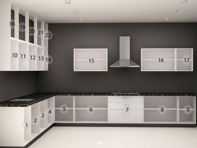Thiết kế mẫu tủ bếp dáng chữ L đơn giản