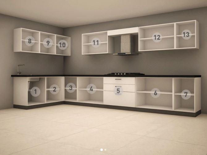 Bản thiết kế mẫu tủ bếp dáng chữ L