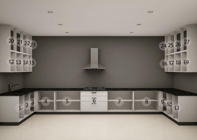 Bản vẽ mẫu tủ bếp Acrylic dáng chữ U đẹp