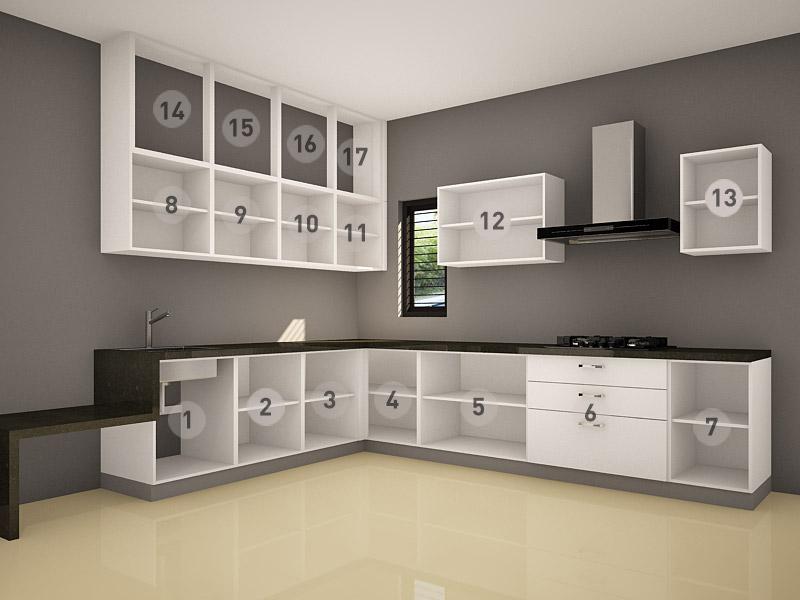 Bản vẽ thiết kế mẫu tủ bếp acrylic dáng chữ L đơn giản