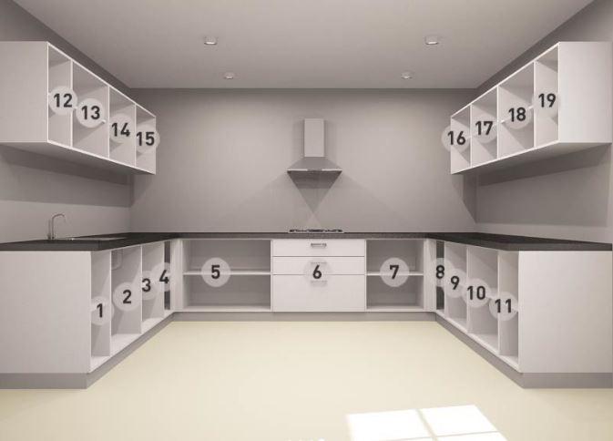 Bản vẽ thiết kế mẫu tủ bếp gỗ hình chữ U