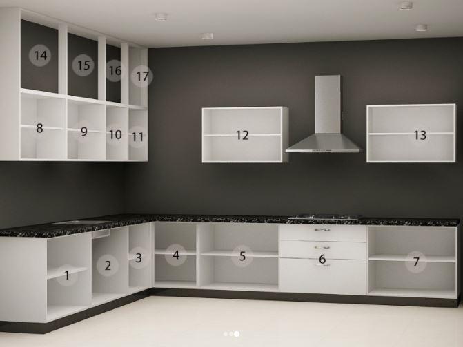 Bản vẽ thiết kế tủ bếp cữ L đẹp