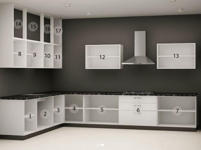 Bản vẽ thiết kế mẫu tủ bếp chữ L hiện đại