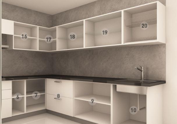 Bản vẽ thiết kế mẫu tủ bếp dáng chữ U bên phải