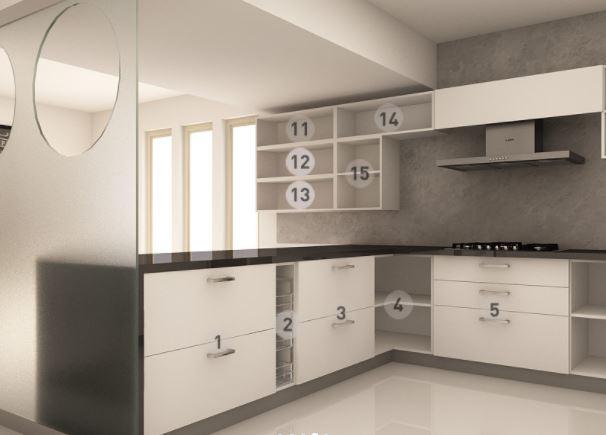 Bản vẽ thiết kế mẫu tủ bếp dáng chữ U bên trái