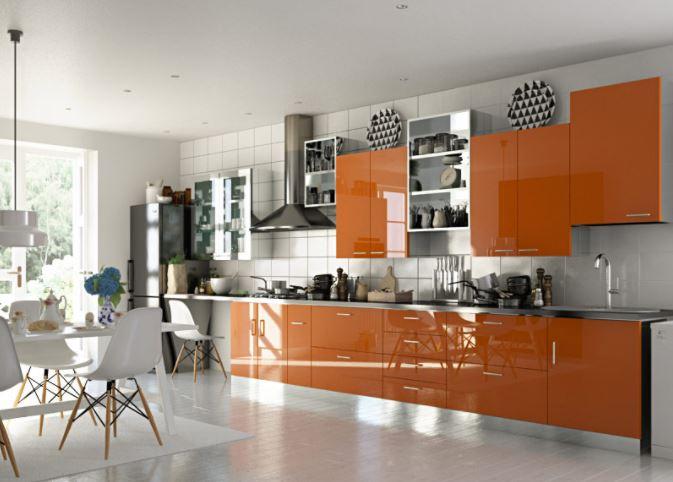 Mẫu tủ bếp Acrylic dáng chữ I hiện đại - MS PARC 56