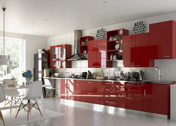 Mẫu tủ bếp Acrylic dáng chữ I hiện đại - MS PARC 57