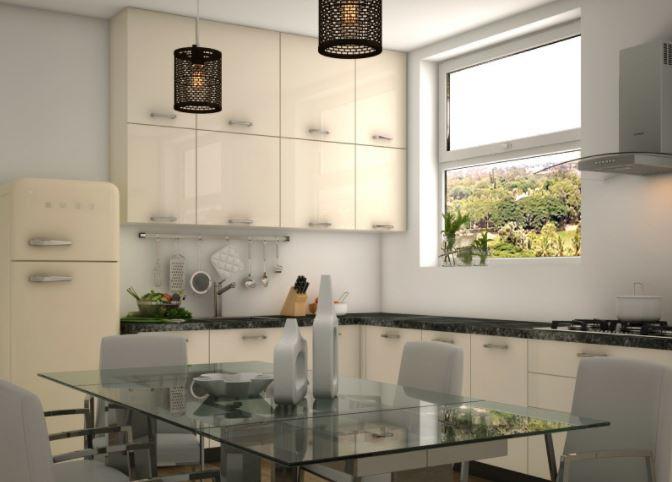 Mẫu tủ bếp acrylic dáng chữ U được thiết kế đụng trần giúp có nhiều không gian để đồ