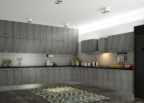 Mẫu tủ bếp dàn chữ L đẹp MS 863 EL