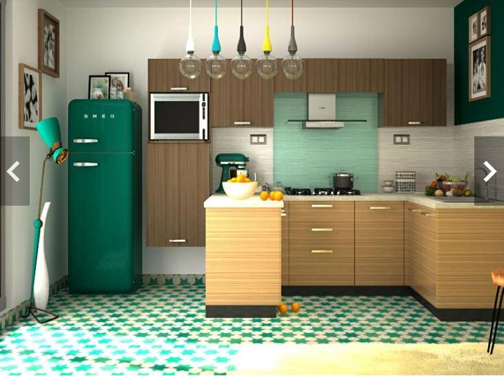 Mẫu tủ bếp dáng chữ U vân gỗ đẹp