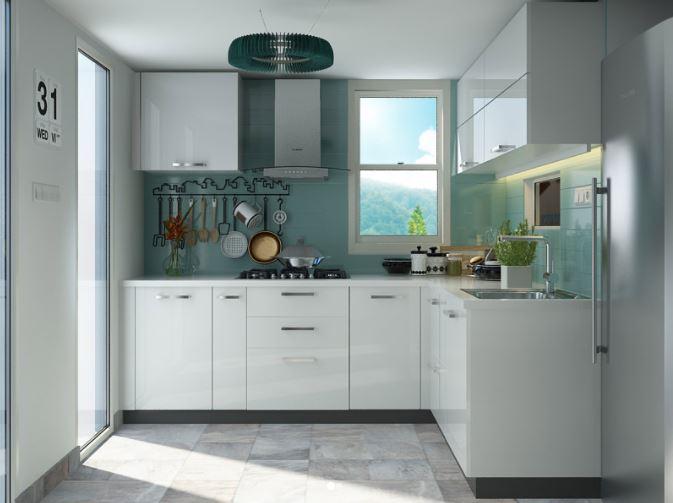 Thiết kế mẫu tủ bếp gỗ chữ L màu trắng sang trọng