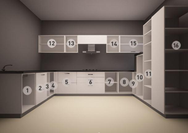 Thiết kế mẫu tủ bếp Acrylic dáng chữ U
