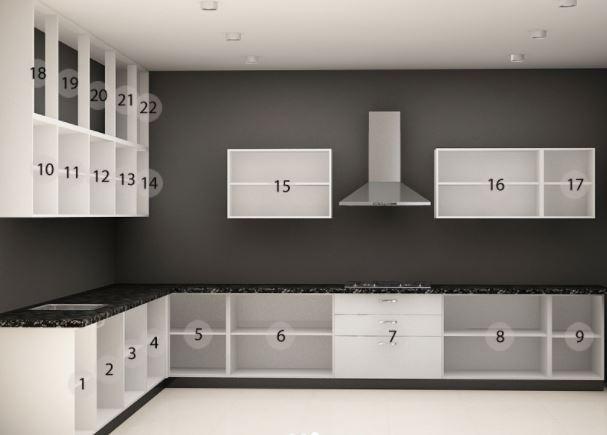 Thiết kế mẫu tủ bếp chữ L đẹp