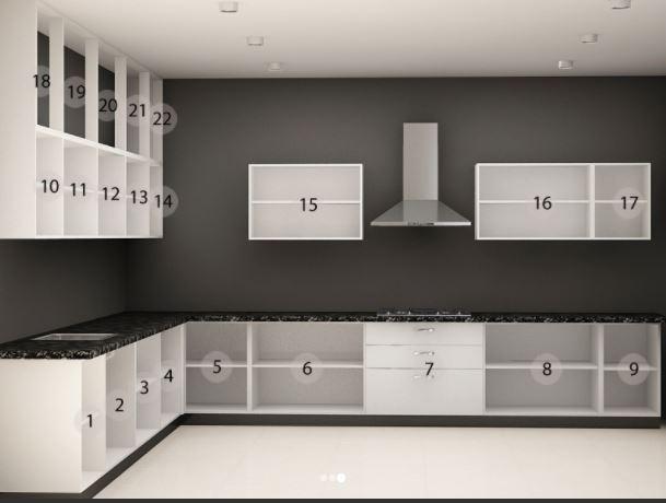 Thiết kế mẫu tủ bếp dáng chữ L đẹp