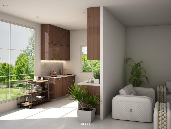 Thiết kế mẫu tủ bếp song song bên trái
