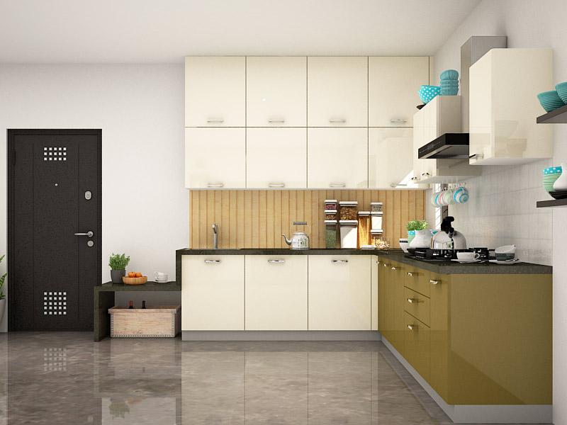 Tủ Bếp Gỗ Chữ L, phủ Acryic  màu trắng và màu xanh bóng gương đẹp