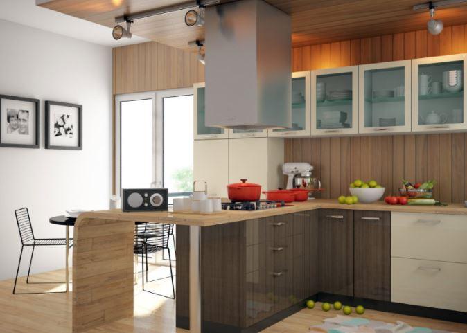 Tủ bếp acrylic chữ U có quầy bar hiện đại MS PARC 20