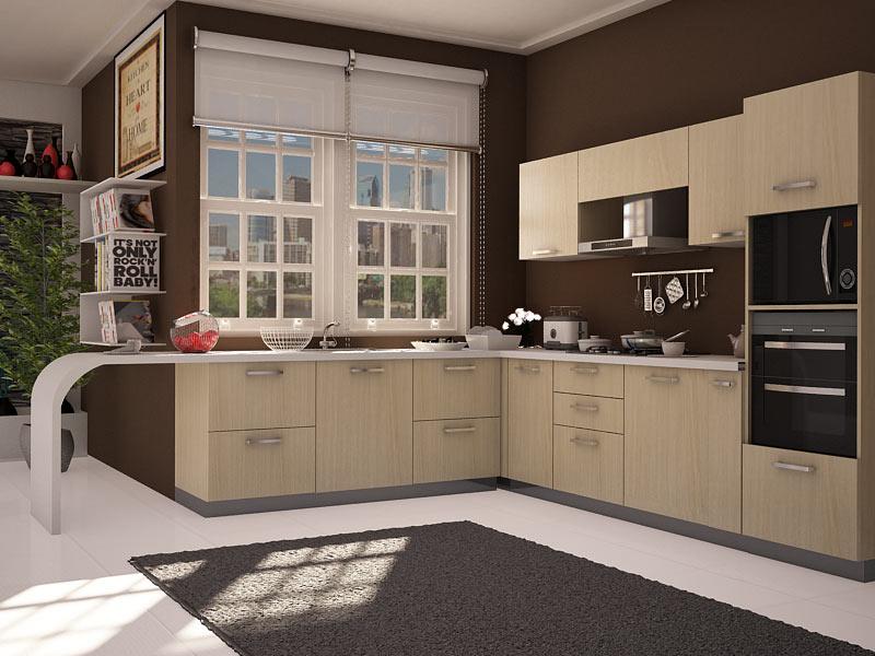 Tủ bếp chữ L đẹp hiện đại