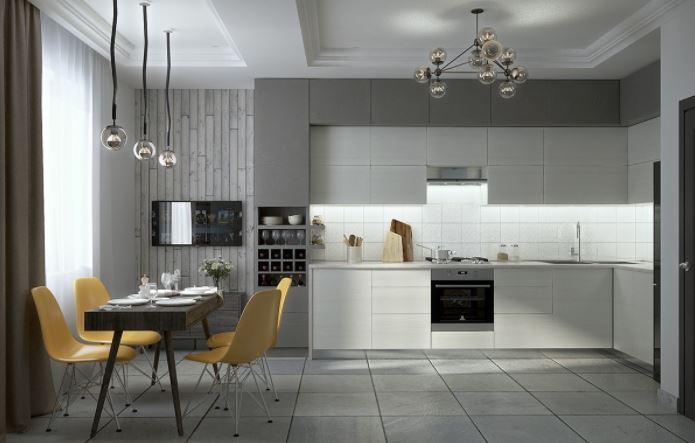 Màu được chọn là màu trắng và xám, thêm sự kết hợp màu trắng của tường giúp gian bếp thêm tinh tế