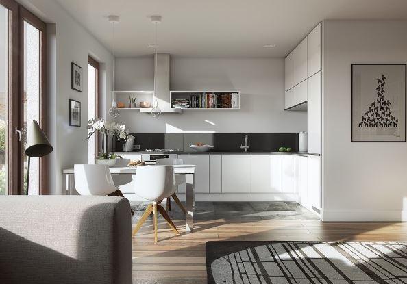 Kết hợp giữa phòng bếp và phòng khách cho không gian ngôi nhà nhỏ và hẹp