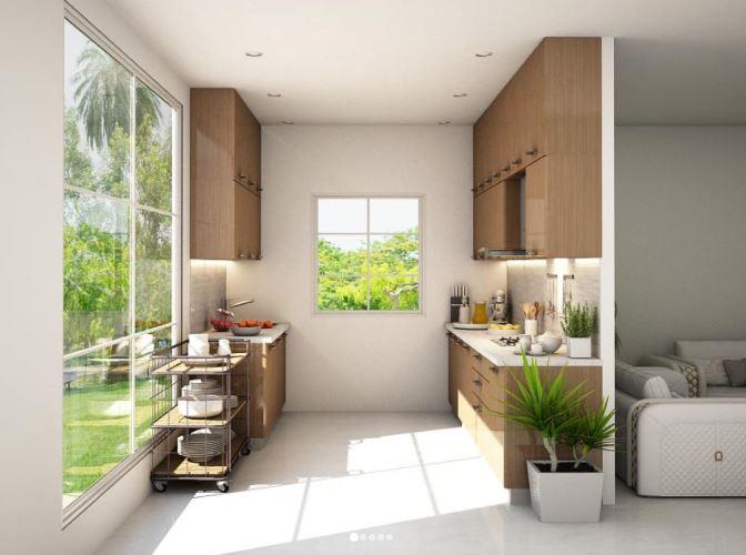 Thiết kế tủ bếp gỗ Veneer song song tương đồng