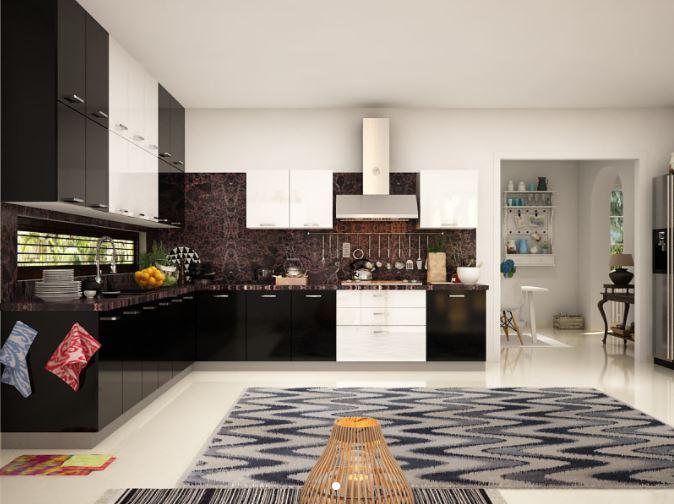 Tủ bếp gỗ Acrylic dáng chữ L MS PARC 02