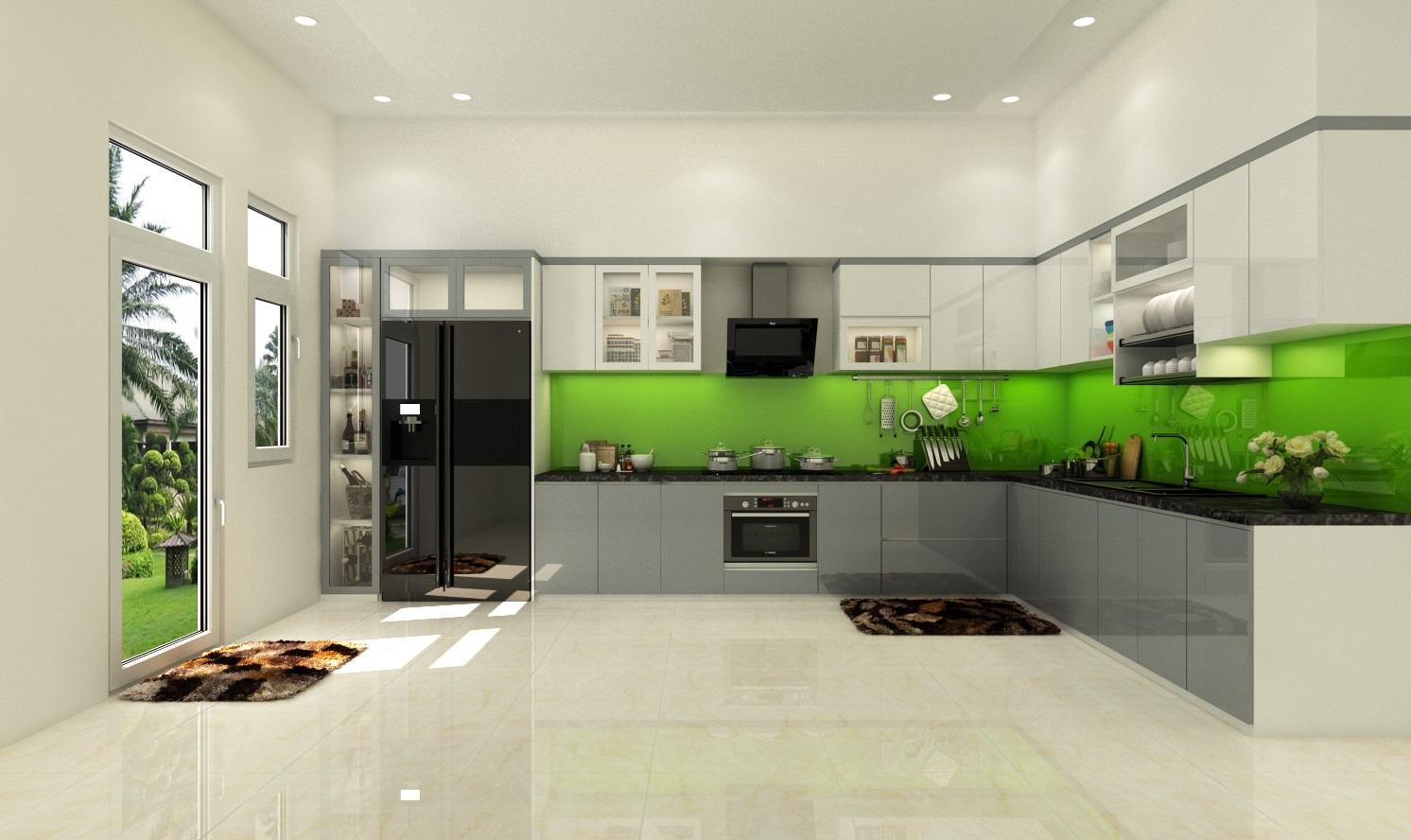 Image result for Tủ bếp Acrylic bóng gương giá rẻ