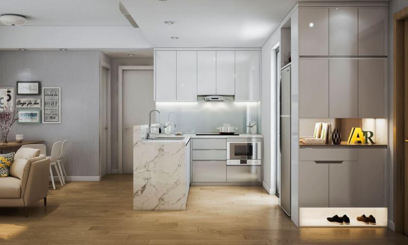 Nội thất phòng bếp căn hộ 2 phòng ngủ với diện tích 60m2 - Căn hộ Chị Ngân