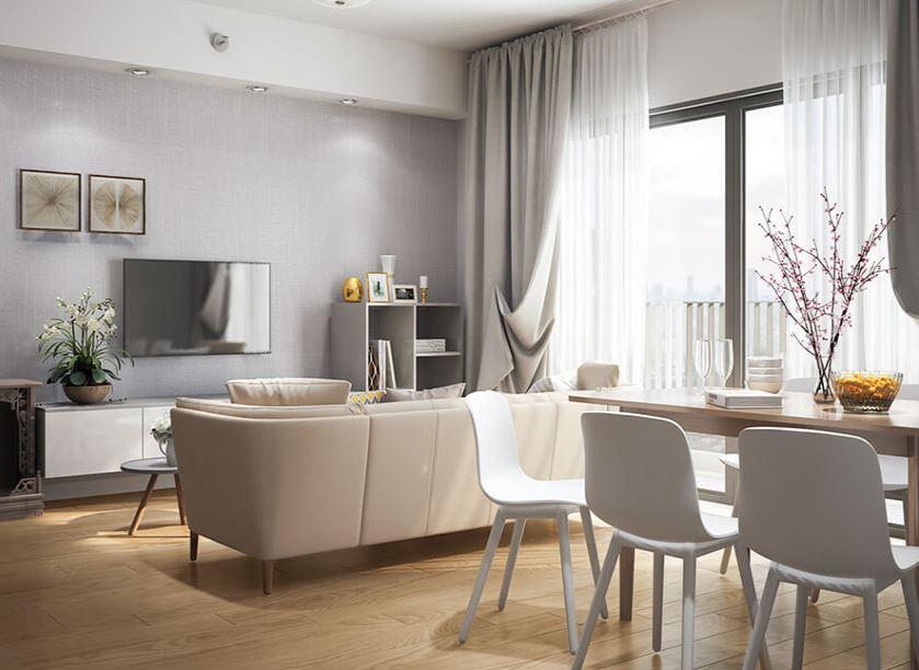 Nội thất phòng khách căn hộ 2 phòng ngủ với diện tich 60m2 - Căn hộ Chị Ngân
